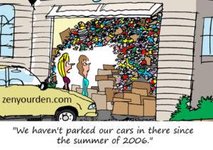 Cartoon of packed garage by Kelly Kamowski