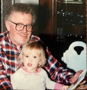 Henry Trapp, Jr. reading to granddaughter, April Ross, 1995