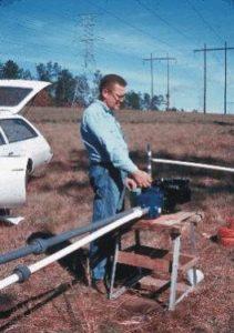 Henry Trapp, Jr. working in field near Pensacola FL for USGS, 1970's
