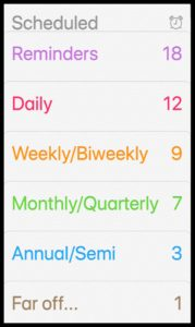 Screen shot of reminders lists on smartphone including, Daily, Weekly, Monthly and Annual lists