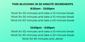 Schedule for Time Blocking in 50-Minute Increments